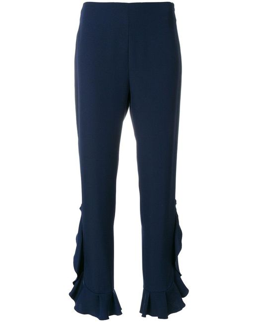 Blumarine - Blue Ruffled Trim Trousers - Lyst