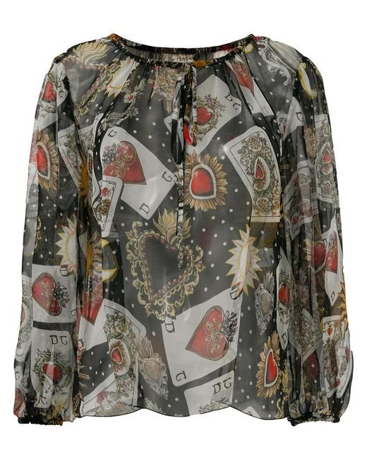 Dolce & Gabbana - Black Playing Cards Print Blouse - Lyst