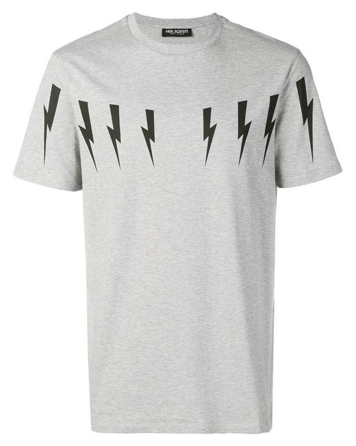 Neil Barrett - Gray T-Shirt mit Blitz-Print for Men - Lyst