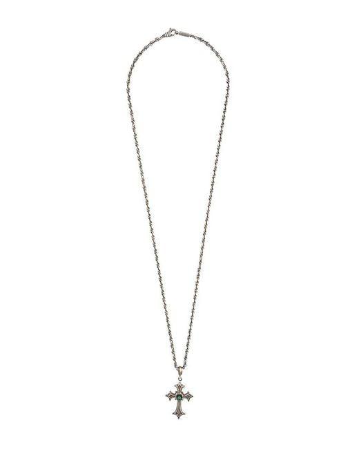 Roman Paul - Gray Embellished Cross Pendant Necklace for Men - Lyst