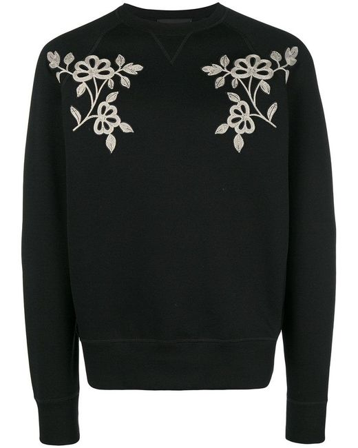 DSquared² - Black Floral Embroidered Sweatshirt for Men - Lyst