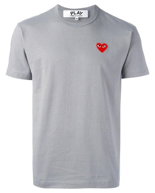 Play Comme des Garçons - Gray Heart Patch T-shirt for Men - Lyst