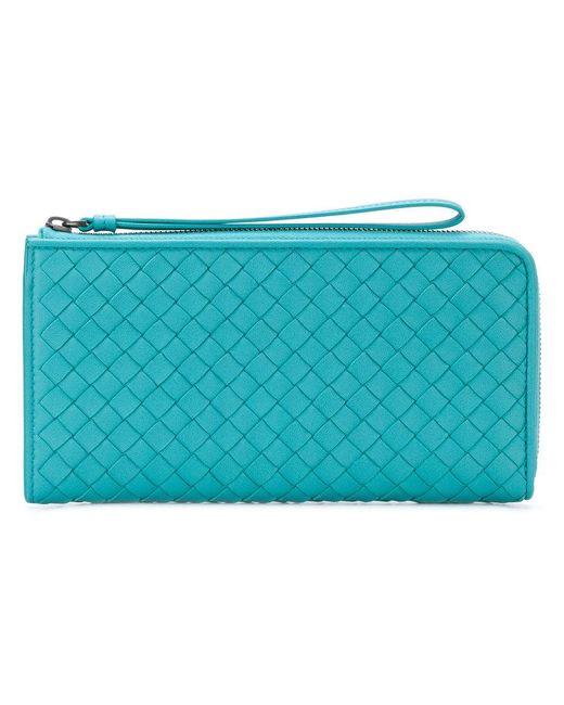 Bottega Veneta - Blue Aqua Intrecciato Nappa Zip-around Wallet - Lyst