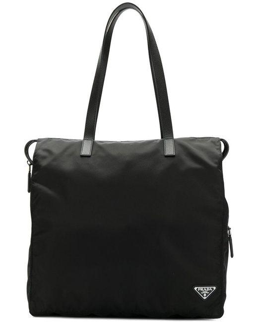 Prada - Black Logo Plaque Holdall for Men - Lyst