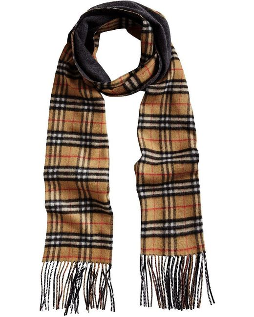 Burberry - Blue Double Faced Checked Scarf - Lyst