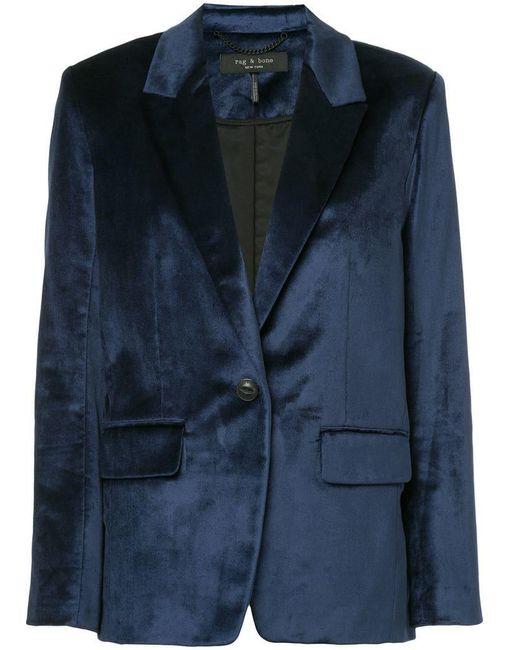 Rag & Bone - Blue Monty Velvet Blazer - Lyst