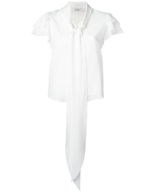 Givenchy - White Ruffle Sleeve Pussybow Blouse - Lyst