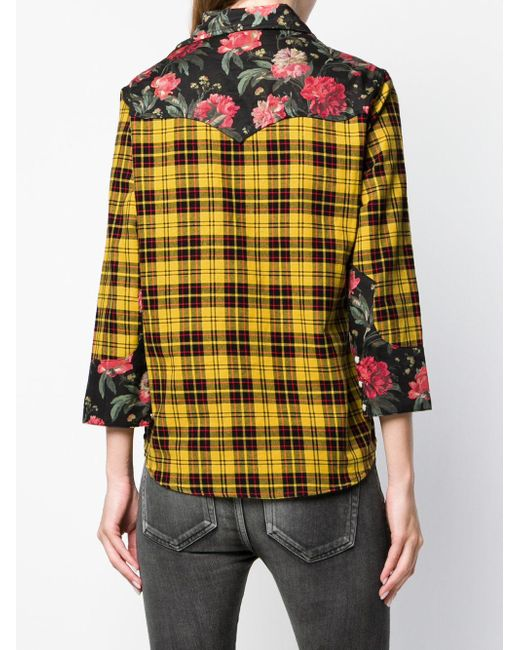 How Much Cheap Price Sale Pay With Paypal R13 floral panelled plaid shirt 2018 Online Outlet New Arrival 4dsSoqLr