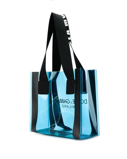 fb42ccb96928 Dolce   Gabbana Logo Print Tote Bag in Blue - Save 10% - Lyst