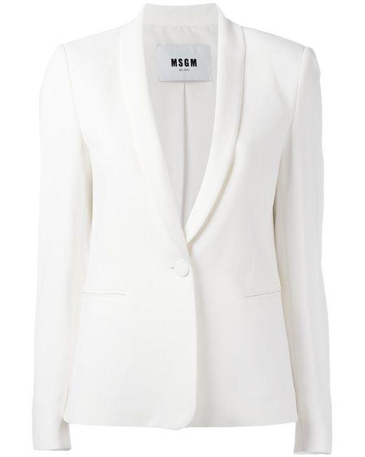 MSGM | White Single Button Blazer | Lyst