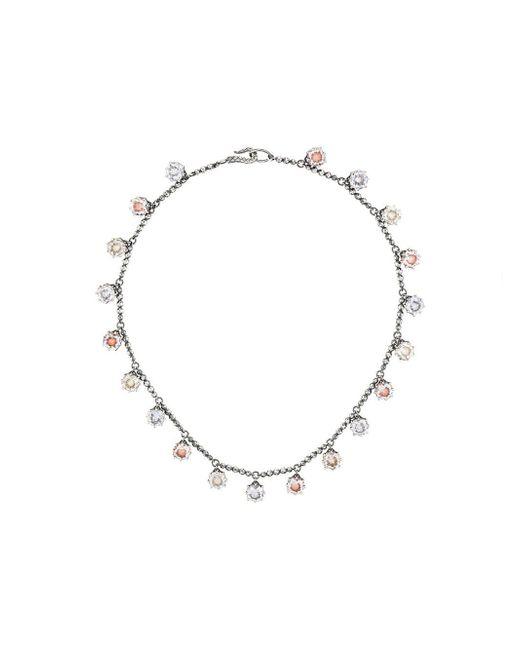 Bottega Veneta - Metallic Multicolour Cubic Zirconia Oxidized Silver Necklace - Lyst