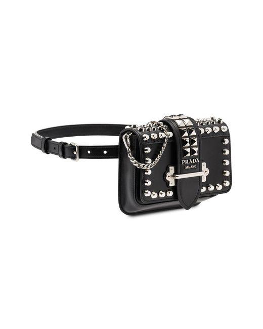 e2dc2b7e1d6b ... Prada - Cahier Studded Black Belt Bag - Lyst ...