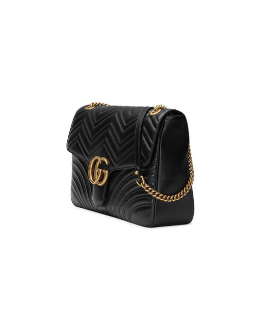 c04cdd036347 ... Gucci - Black GG Marmont Large Shoulder Bag - Lyst