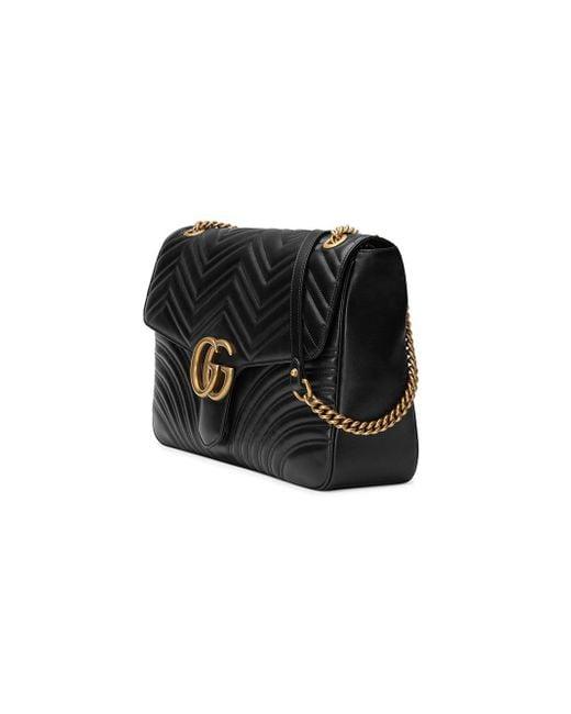 1c93b619357db8 ... Gucci - Black GG Marmont Large Shoulder Bag - Lyst