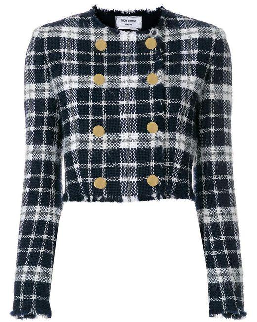Thom Browne - Blue Tartan Cardigan Jacket - Lyst