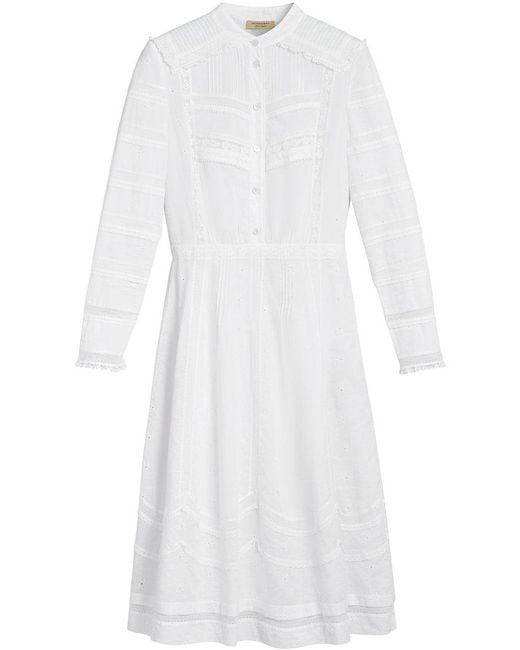 Burberry - White English Lace Detail Shirt Dress - Lyst