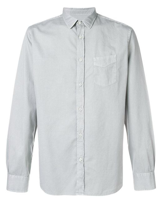 Officine Generale - Gray Pocket Button Shirt for Men - Lyst