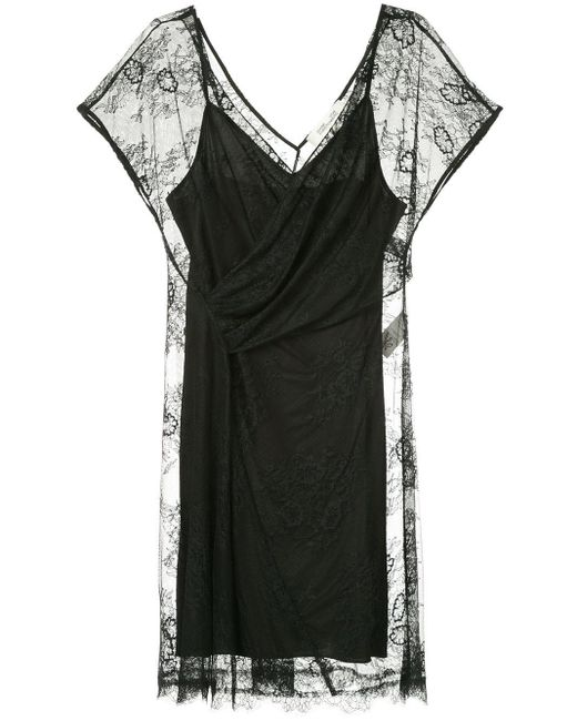 Diane von Furstenberg Black Ruched V-neck Dress