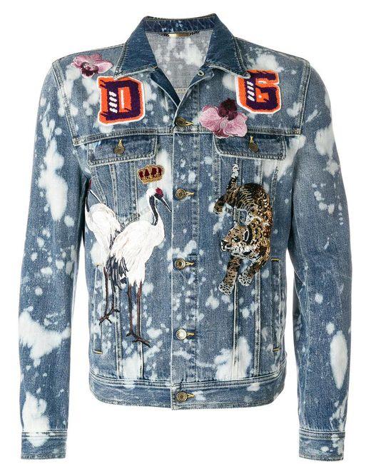 Dolce & Gabbana - Blue Bleached Denim Jacket With Patch Appliqués - Lyst