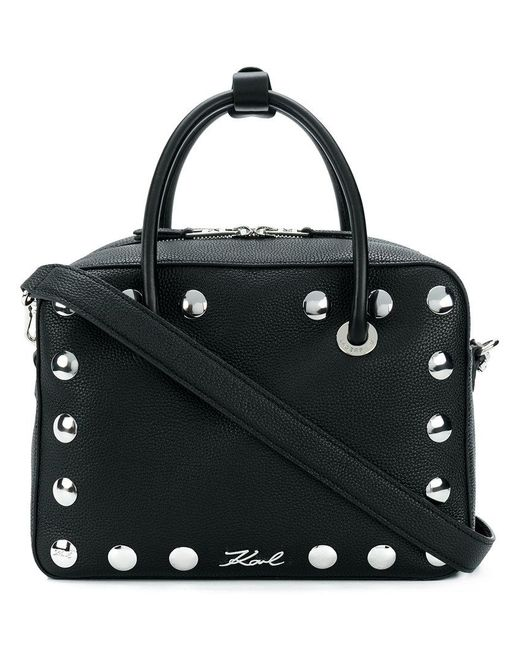 Karl Lagerfeld - Black Snaps Bowling Tote Bag - Lyst