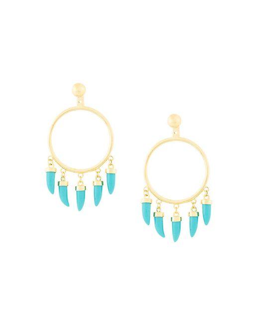 Eshvi - Metallic Fang Pearl Charm Earrings - Lyst
