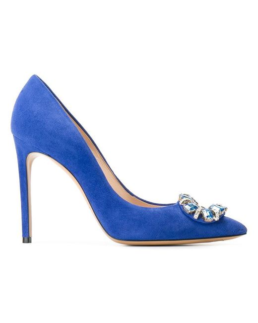 Casadei - Blue Embellished Stiletto Pumps - Lyst