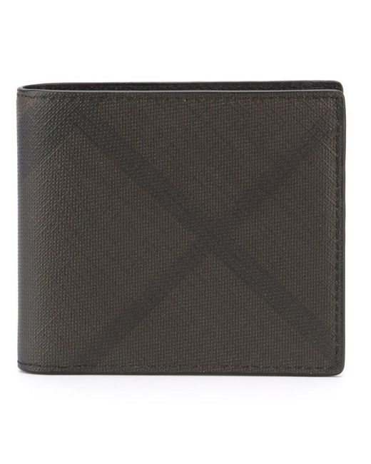 Burberry - Brown Checked Billfold Wallet for Men - Lyst