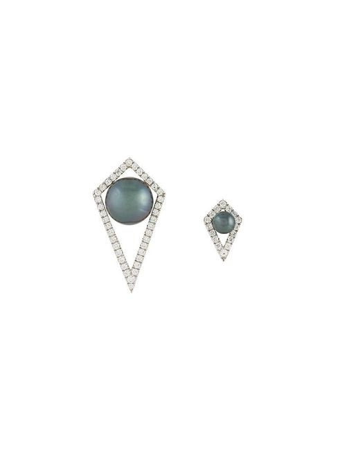 Elise Dray - Gray Small And Large Diamond Moon Earrings - Lyst