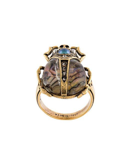 Alexander McQueen   Metallic Bug Plaque Ring   Lyst