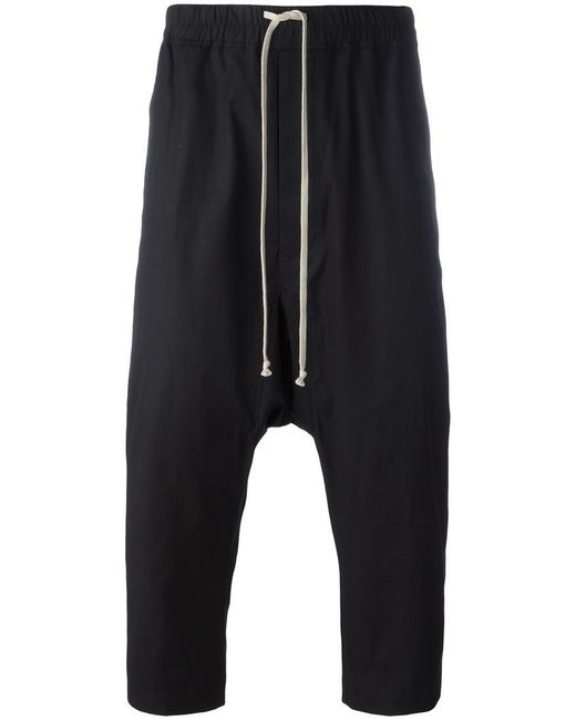 Rick Owens | Black Drop-crotch Cropped Trousers | Lyst
