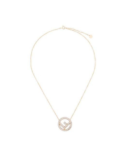 Fendi - Metallic Crystal Logo Pendant Necklace - Lyst