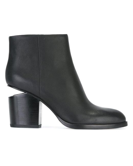 Alexander Wang - Black Gabi Leather Silver-Cutout Ankle Boots - Lyst