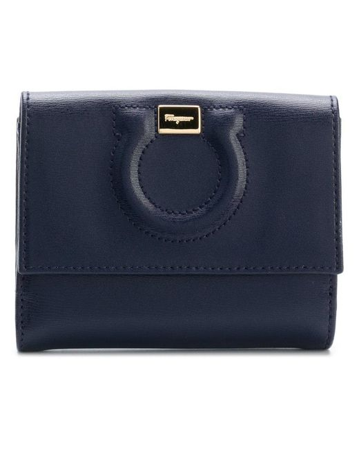 Ferragamo - Blue Gancini Mini Wallet - Lyst