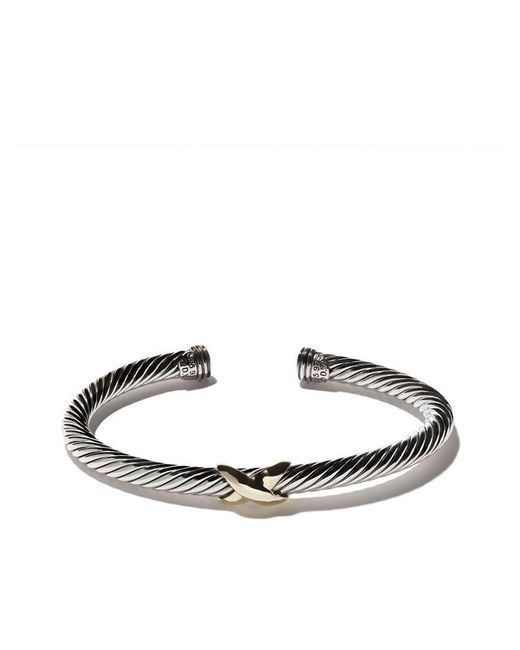 David Yurman - Multicolor 14kt Yellow Gold X Silver Cuff Bracelet - Lyst