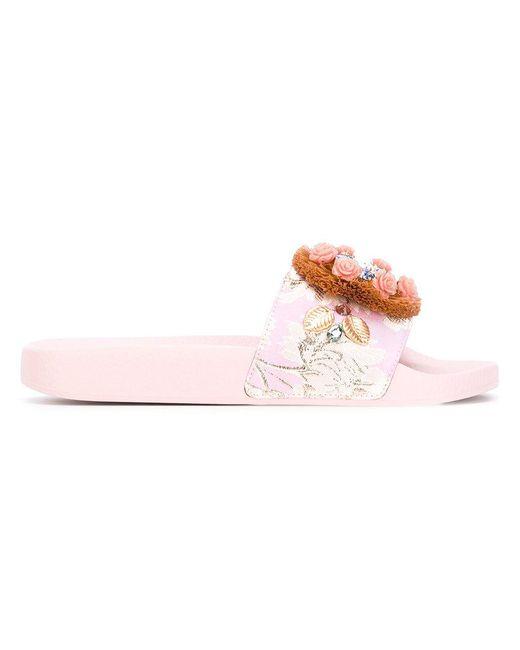 Dolce & Gabbana - Pink Raffia Embellished Slide Sandal - Lyst