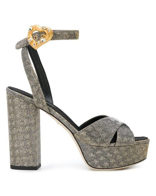 f0fc8fec656 Lyst - Dolce   Gabbana Platform Ankle Strap Sandals in Metallic ...