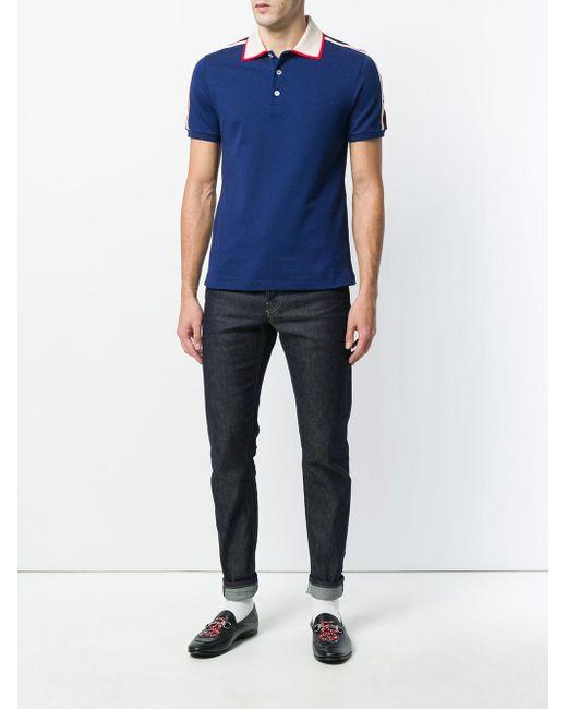 b28aec07 ... Gucci - Blue Logo Polo Shirt for Men - Lyst ...