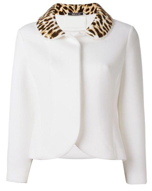 in Leopard Margiela White Collar Print Jacket Maison Lyst WEaFUEY