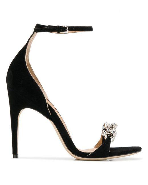 9c94812737e Sergio Rossi - Black Ankle Strap Sandals - Lyst ...