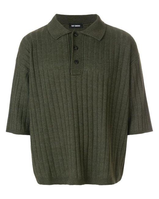 Men's Green Oversized Polo Shirt by Raf Simons