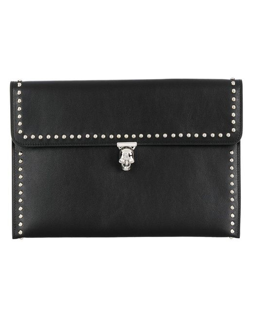 Alexander McQueen - Black Studded Skull Clutch Bag - Lyst