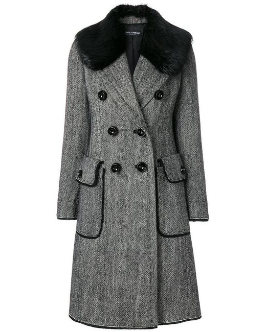 Dolce & Gabbana - Black Double Breasted Coat - Lyst