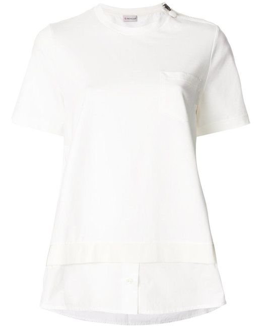 Moncler patch pocket t shirt in white lyst for Off white moncler t shirt