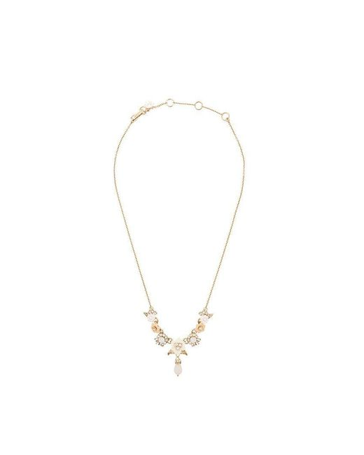 Marchesa notte - Yellow Embellished Floral Necklace - Lyst