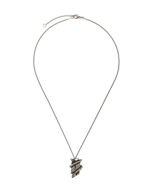 Saint Laurent | Metallic Ysl Serpent Plaque Necklace | Lyst