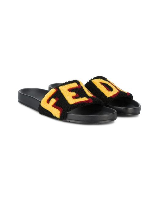 bb398d9852ca ... Lyst Fendi - Black Claquettes à logo en laine d agneau for Men ...