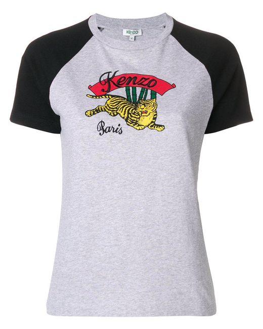 KENZO - Gray Tiger Logo T-shirt - Lyst