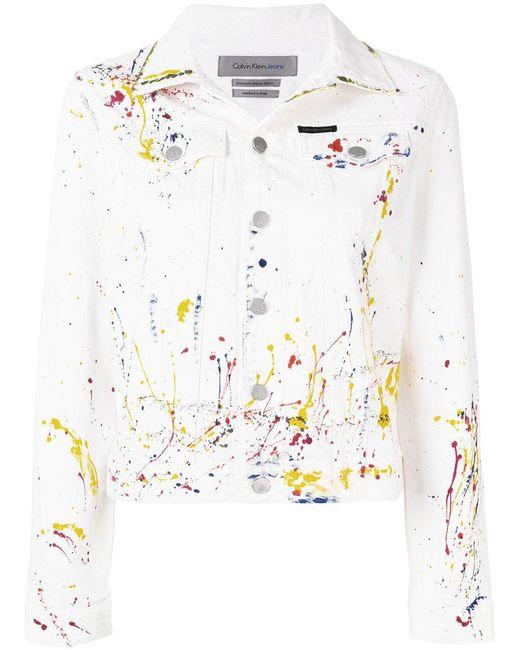Ck Jeans - White Paint Splash Denim Jacket - Lyst