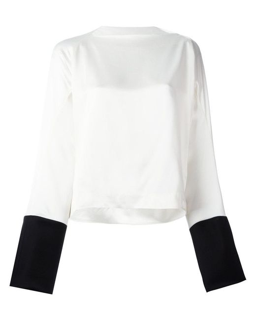 Haider Ackermann | White Boat Neck Bicolour Blouse | Lyst