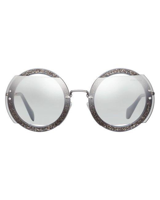 Miu Miu Gray Reveal Glitter Sunglasses